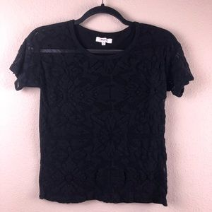 MADEWELL Black Lace Front Shirt XS